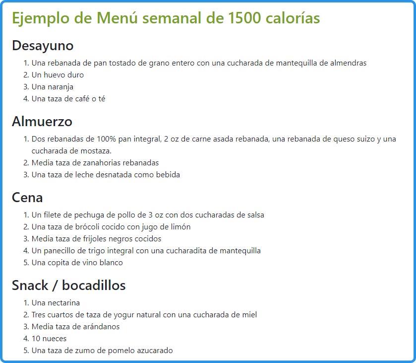 Ejemplo de menú semanal dieta hipocalorica 1500 calorias